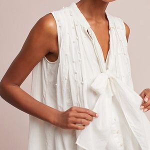 Anthropologie Feather bone Pearl TieNeck Blouse